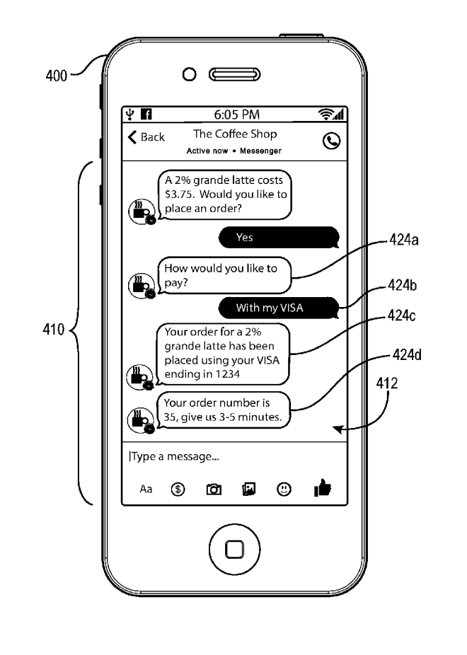 Facebook, Patent, ecommerce chatbot