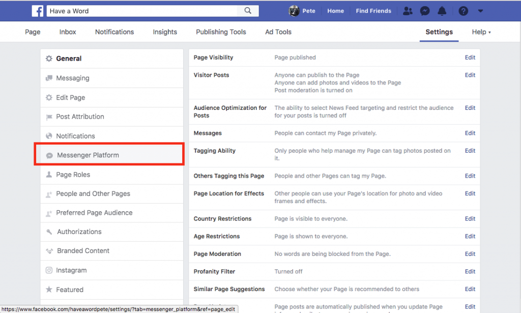 Facebook messenger subscription request