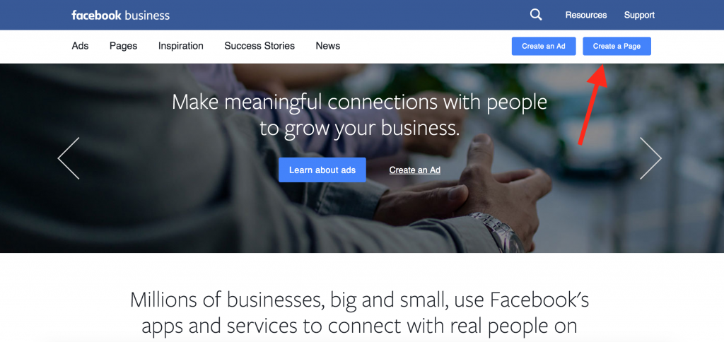 Guide, set up facebook, business page