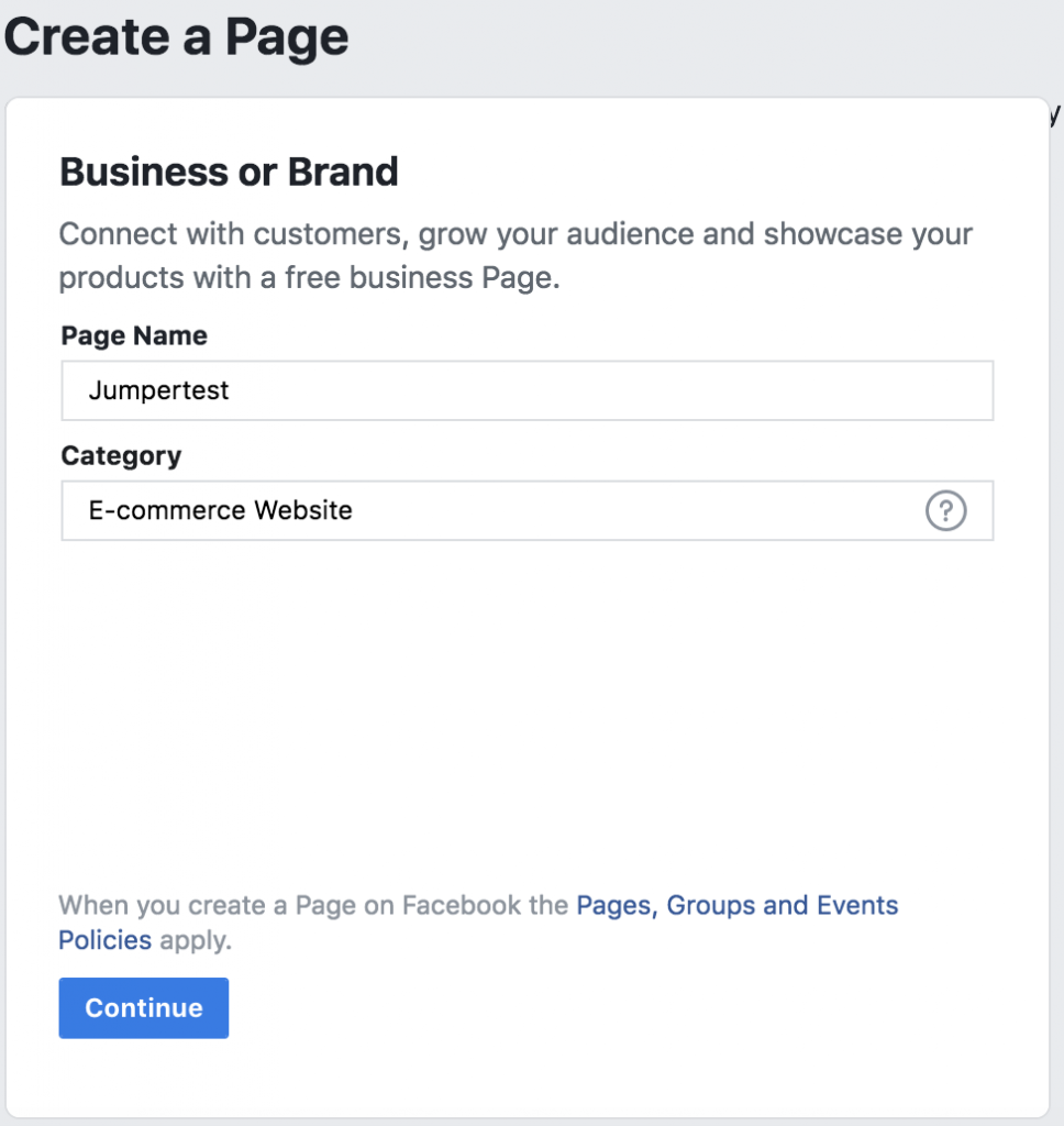 Name, facebook, business page