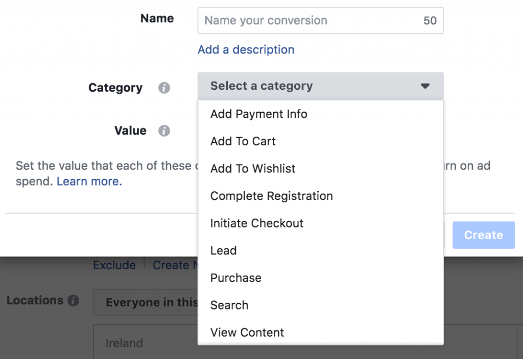 Selecting a type of conversion in Facebook ads