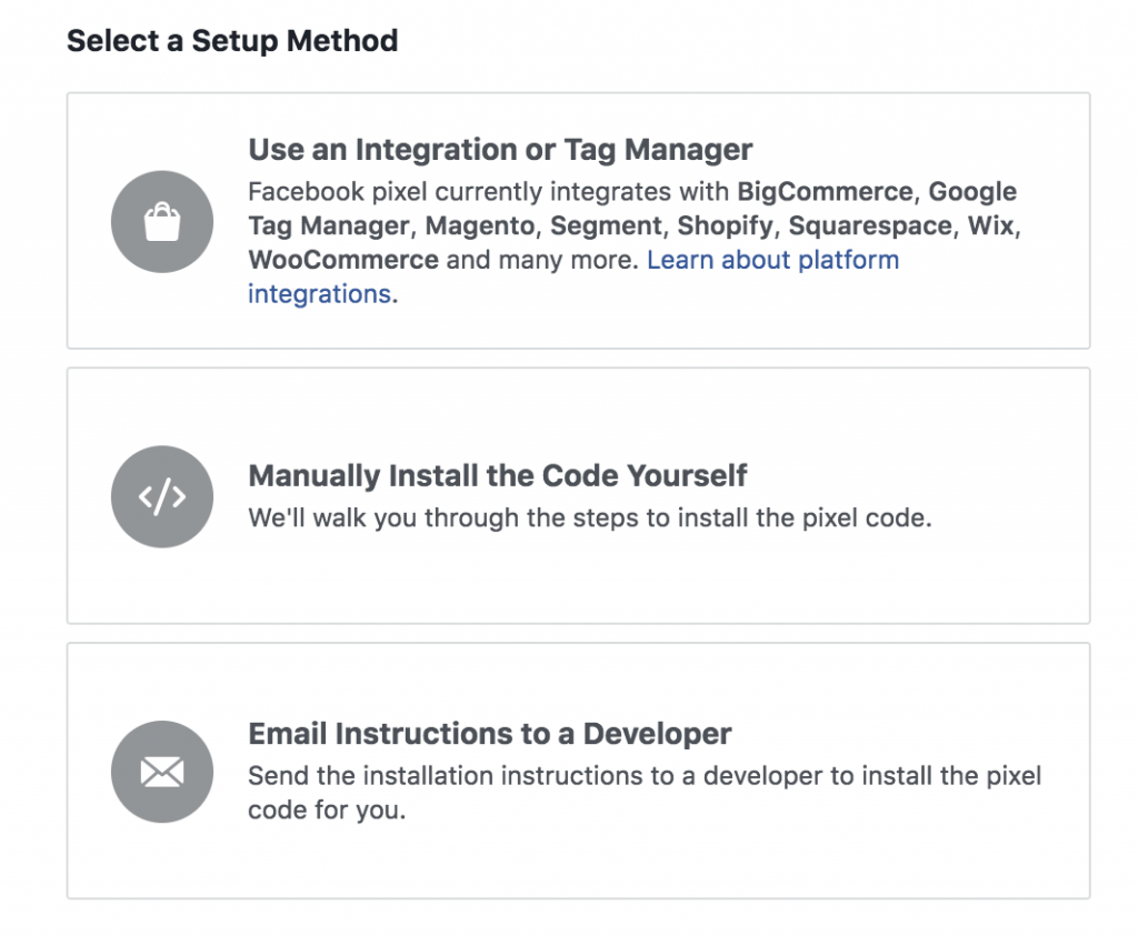 Selecting a conversion tracking setup method in Facebook ads