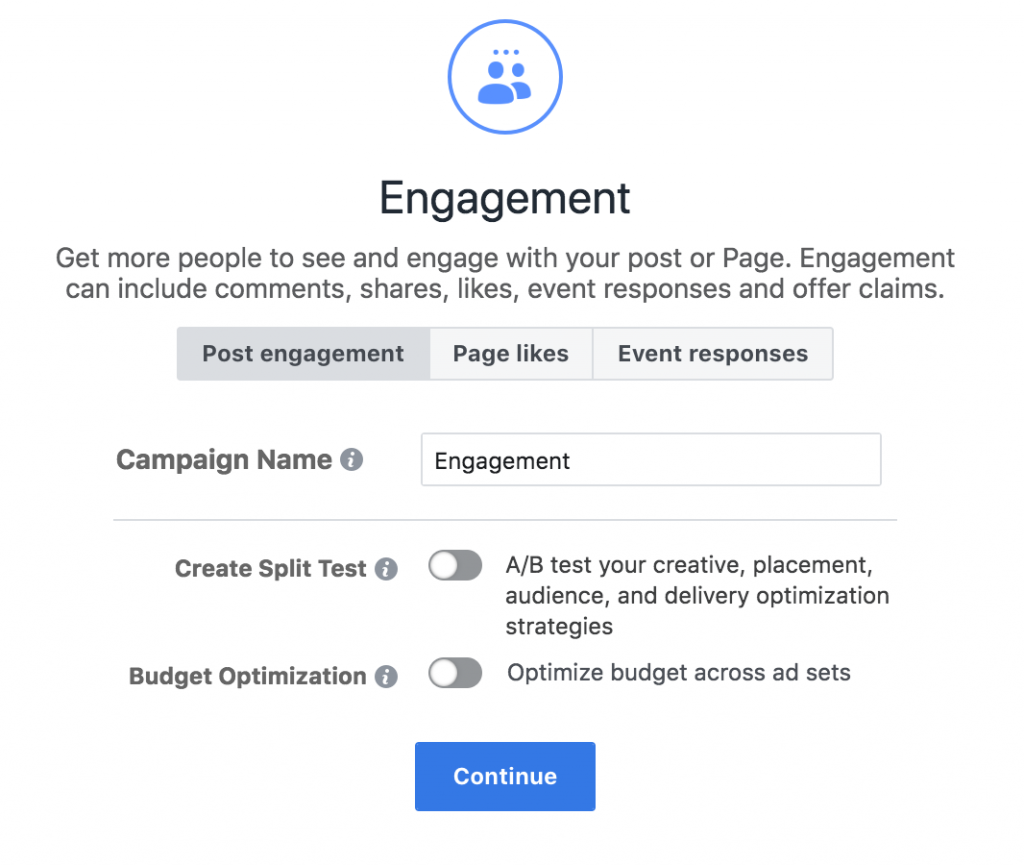 Facebook Engagement ad setup
