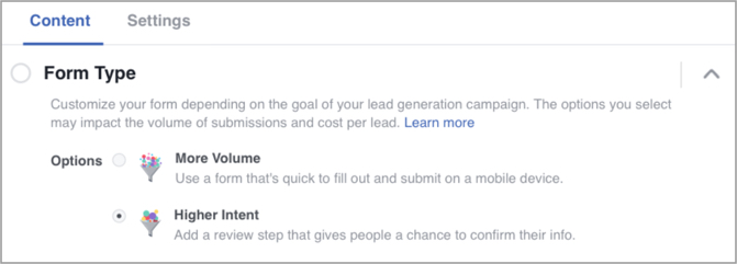 Adjusting form type in Facebook ads based on volume or intent