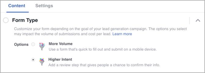 Adjusting form type in Facebook ads based on volume or intent