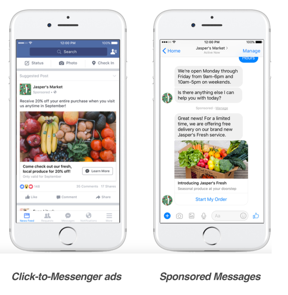 Facebook ads with Messages objective