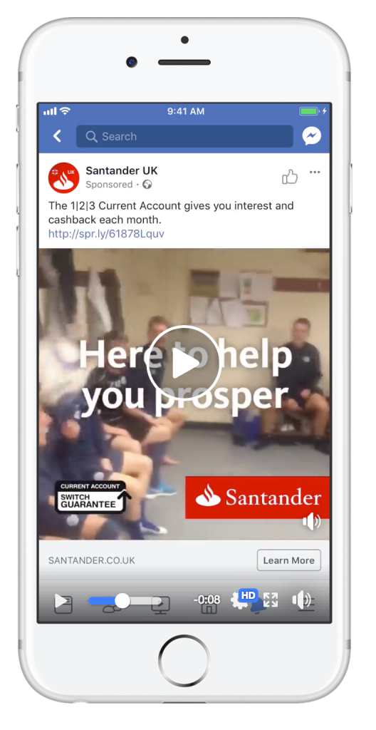 Santander UK Facebook ad