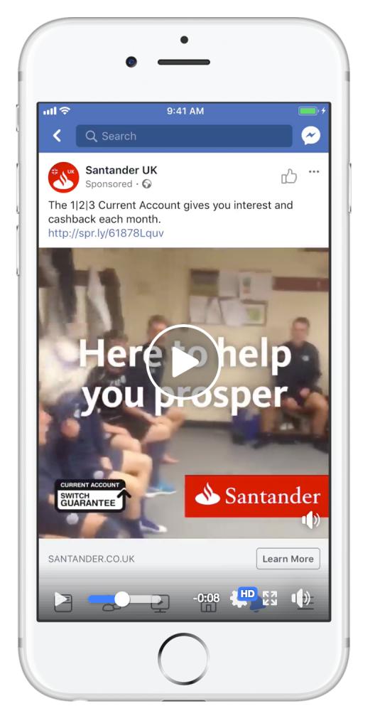 Santander UK Facebook ad