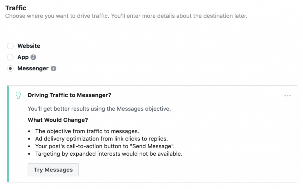 Traffic to Messenger in Facebook ads