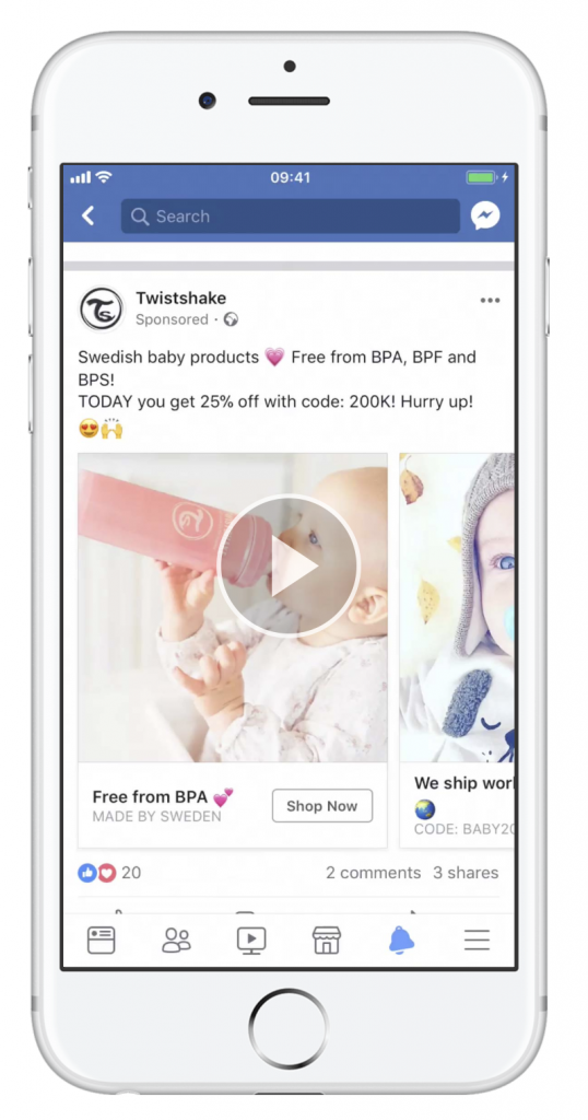 Twistshake Facebook ad