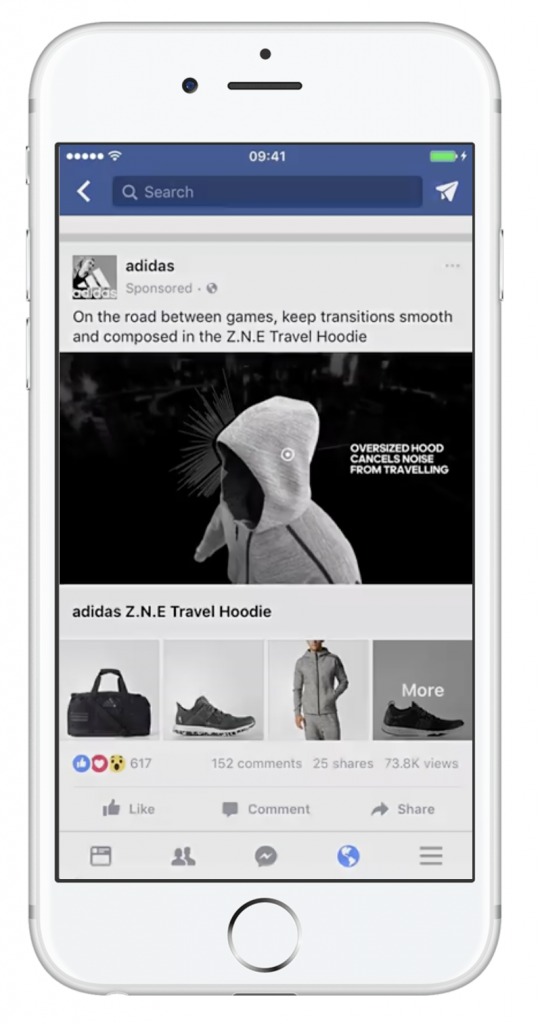 Adidas Facebook ad in collection format