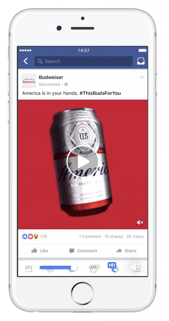 Facebook ad from Budweiser