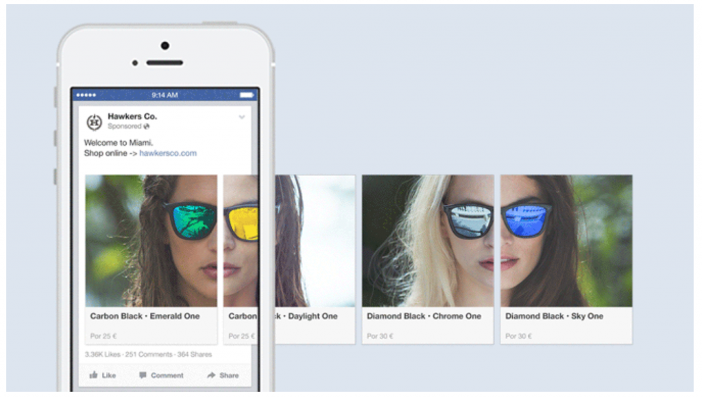 Facebook carousel ad by Hawkers