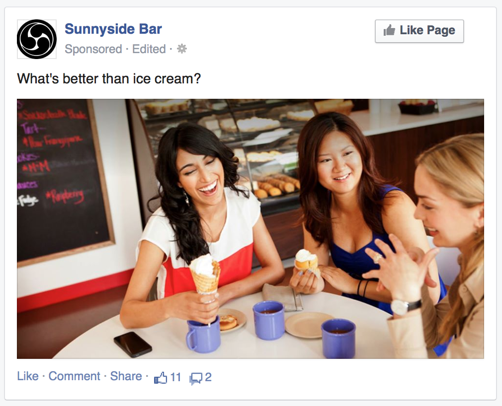 Facebook image ad from Sunnyside Bar