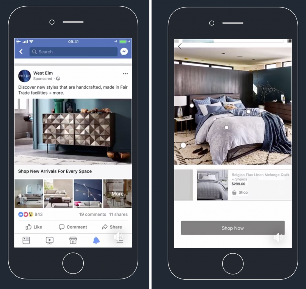 Facebook collection ad from West Elm