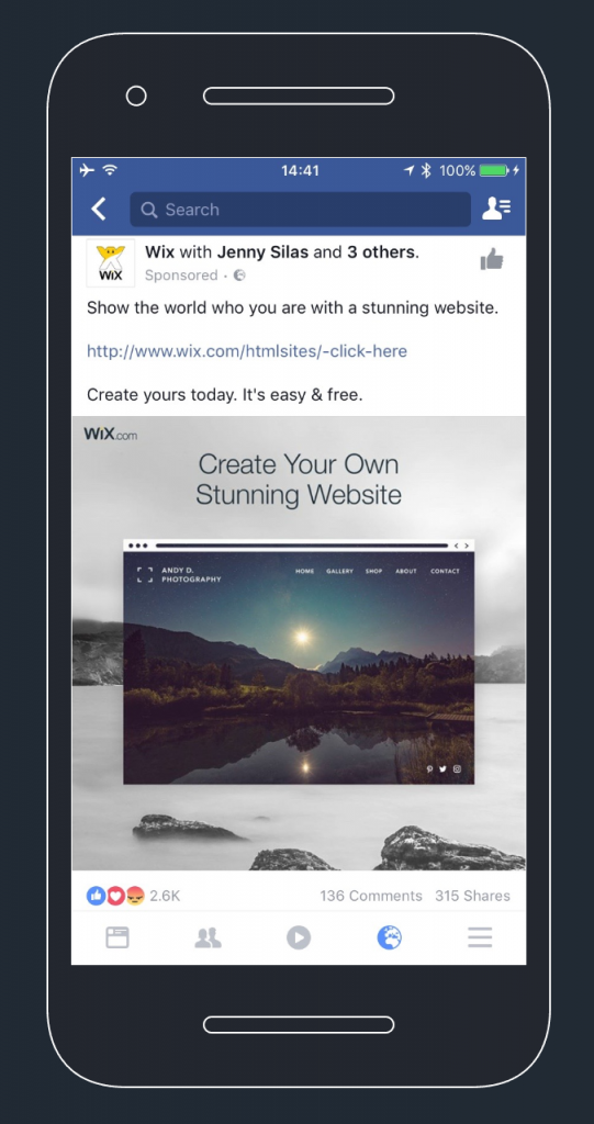 Facebook image ad by Wix