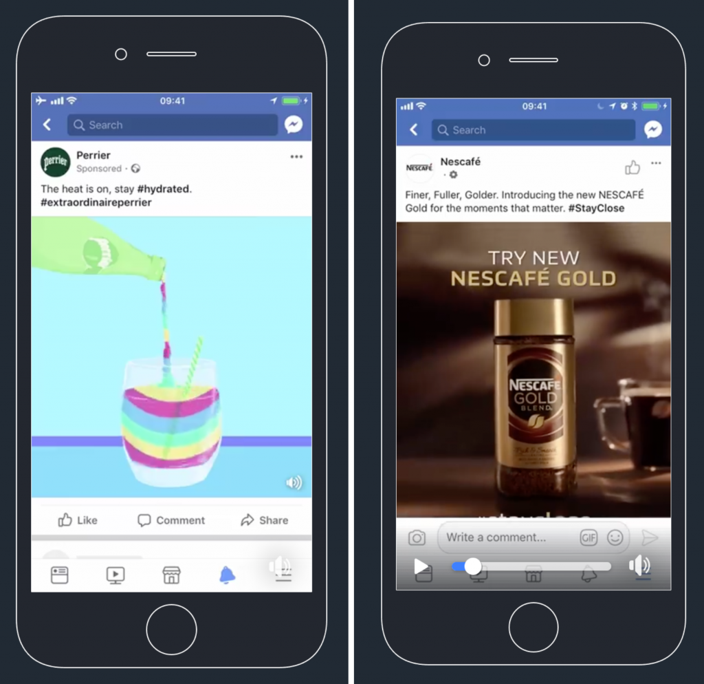 Facebook ads: Perrier and Nescafé