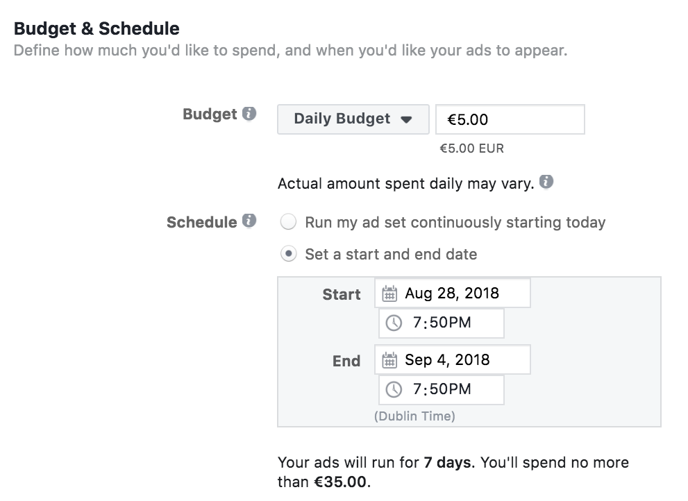 Facebook's budget and schedule settings for ads