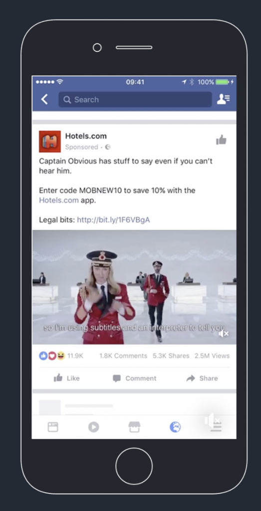 Facebook video ad from Hotels.com