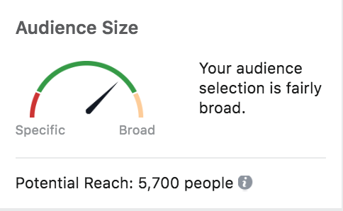 Facebook ad targeting, audience size