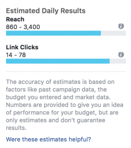 Facebook ad targeting, estimated daily results