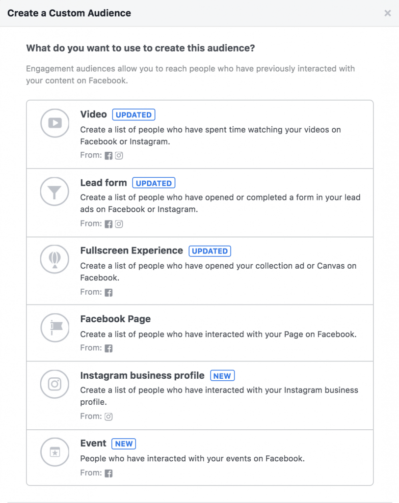 Methods of creating engagement audiences on Facebook