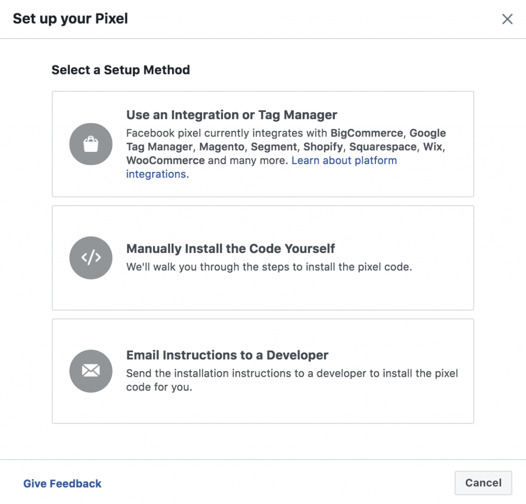Methods of setting up Facebook pixel