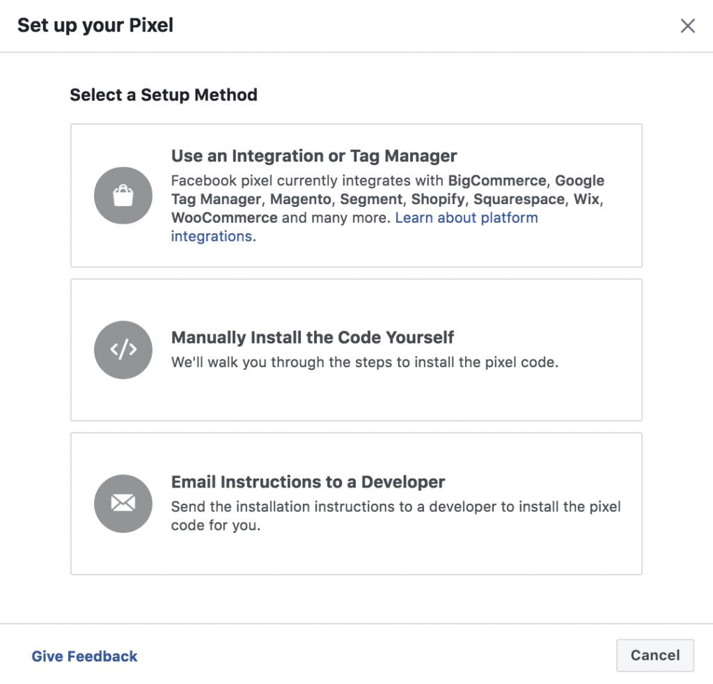 Methods of setting up Facebook pixel