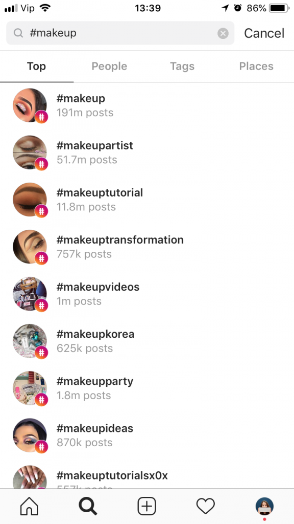 Instagram hashtag research example