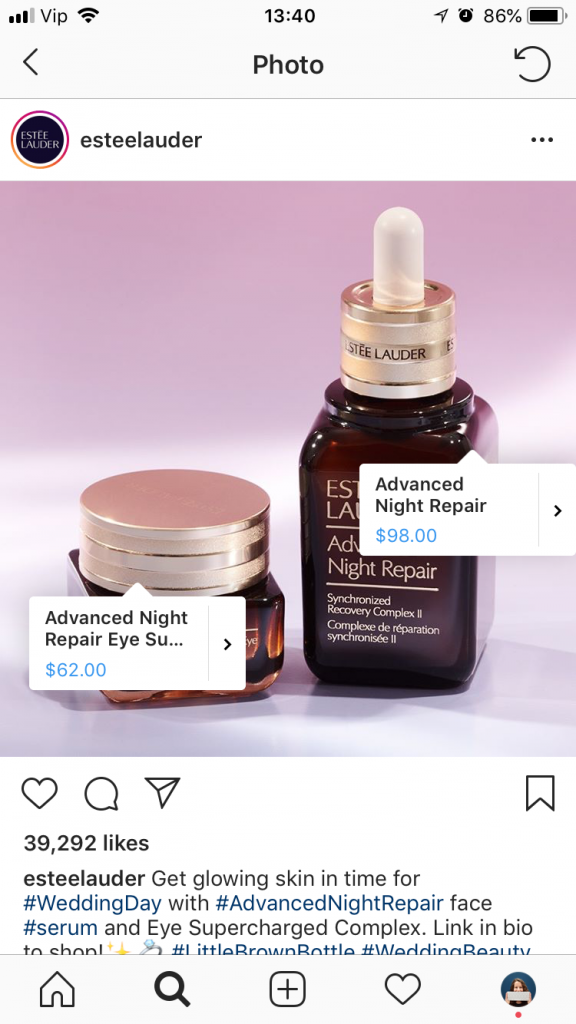 Instagram Shopping example from Estee Lauder