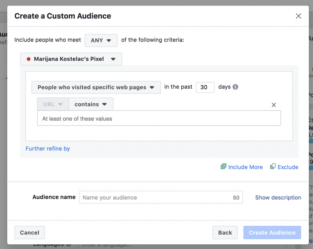 Creating a custom audience from your Black Friday landing page visitors