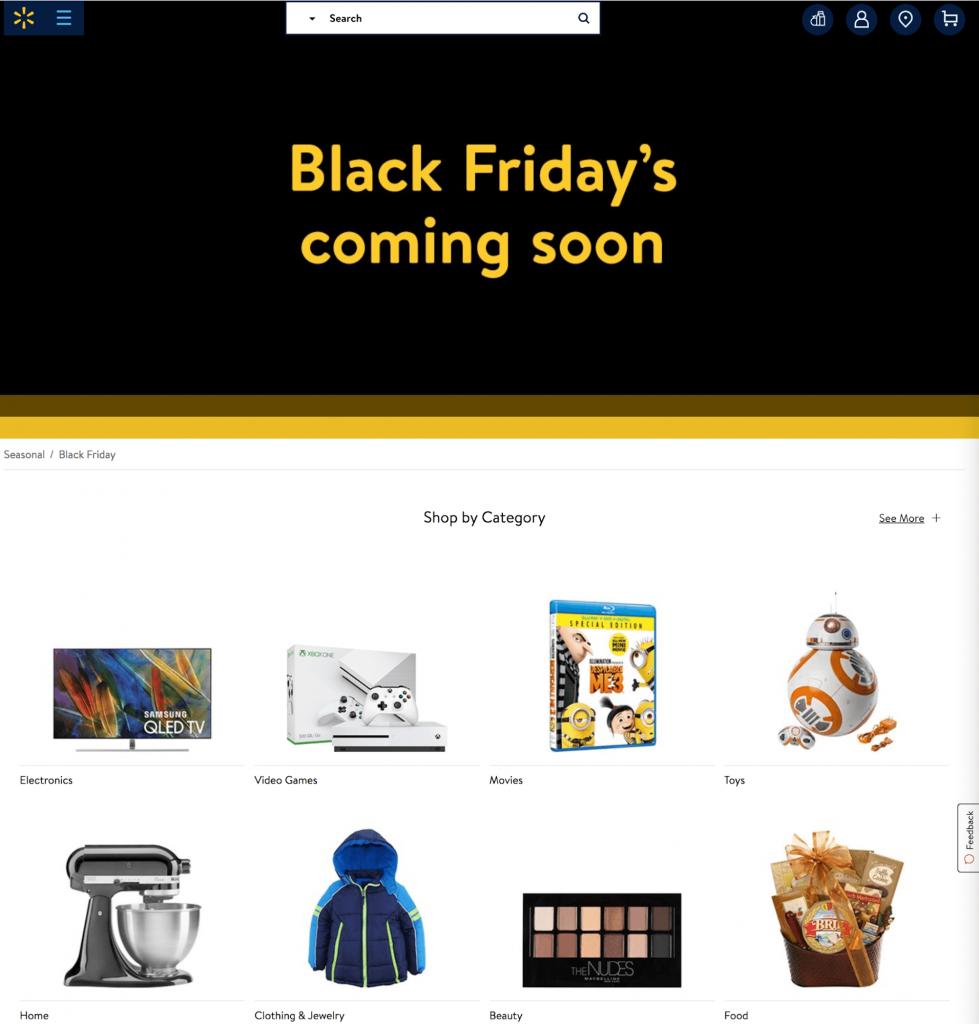 Walmart's Black Friday landing page