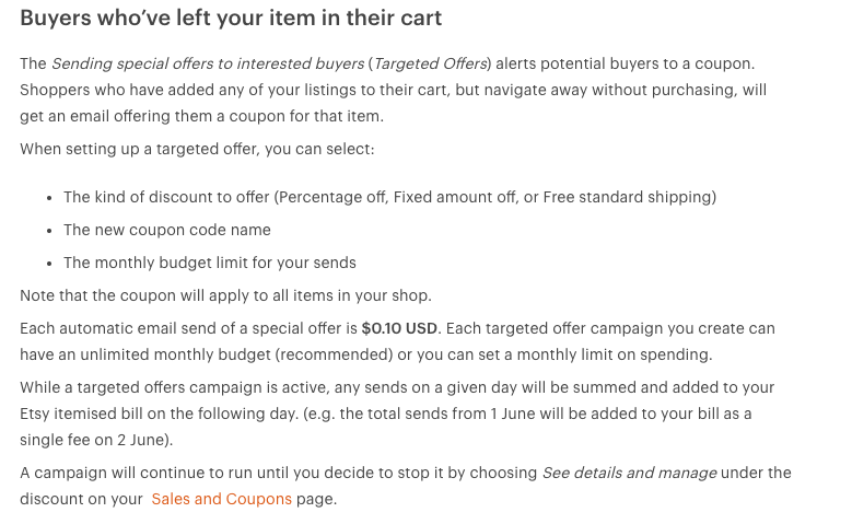 Etsy Increase in fees