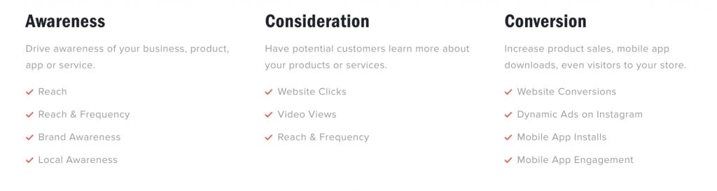 Objectives for Instagram ads
