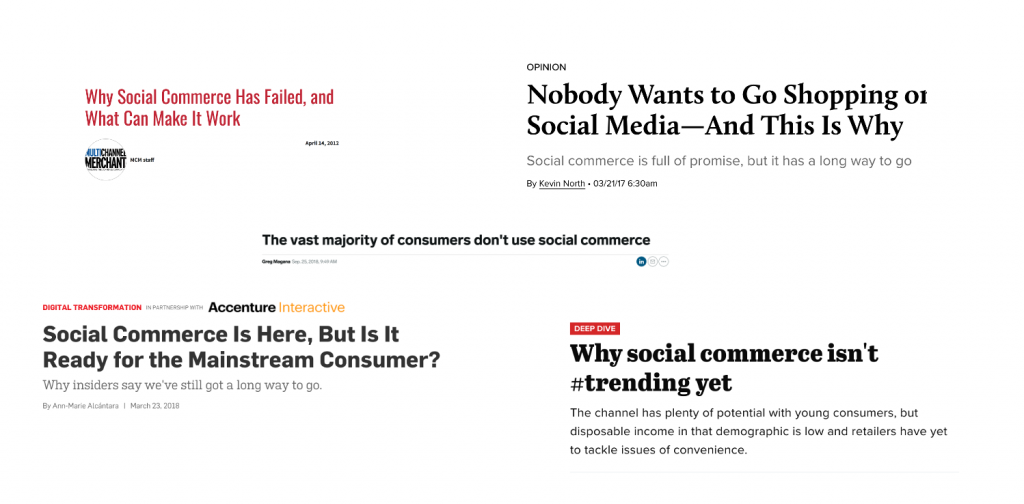 Social commerce headlines