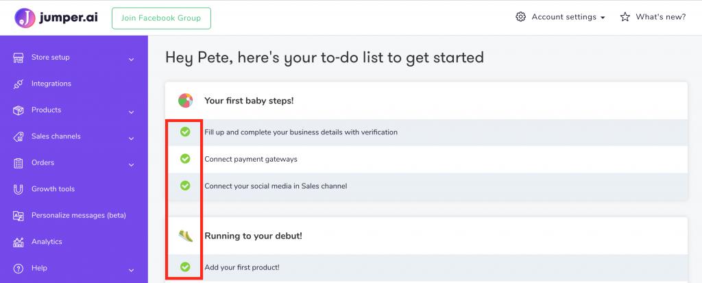 jumper social commerce solution set up