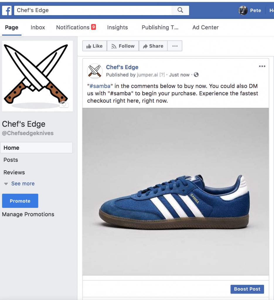Facebook social commerce campaign