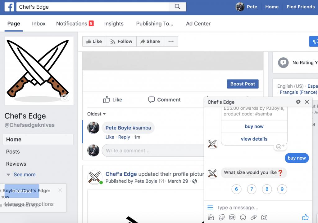 Facebook social selling campaing through messenger