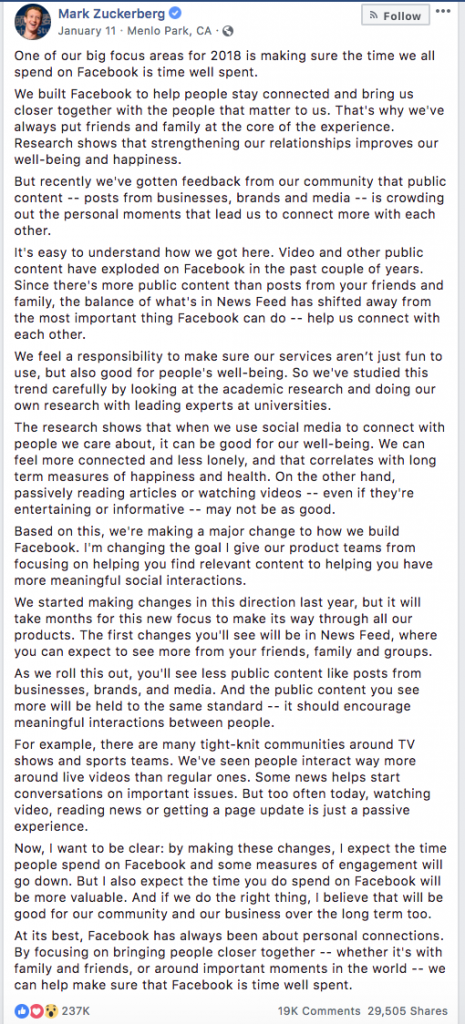 facebook Feed, Zuckerberg announcement
