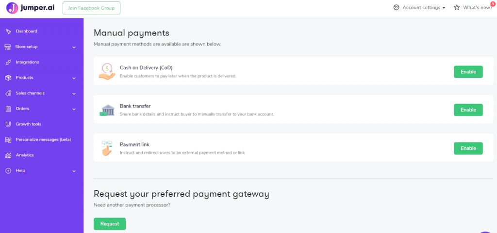 payment options for social media