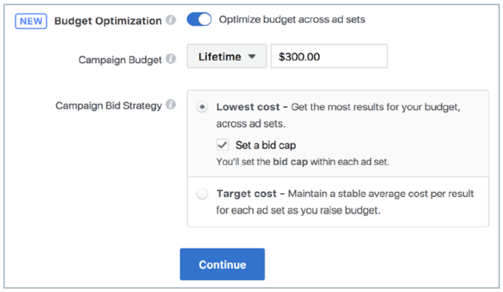 Facebook campaign budget optimisation bid caps for ad sets